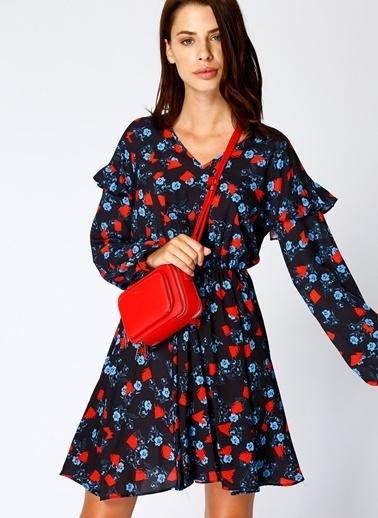 Black Pepper Beli Büzgülü Çiçekli Elbise Renkli